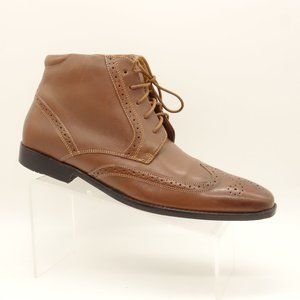 ROCKPORT High Top Dress Shoe Brown Leather Wingtip